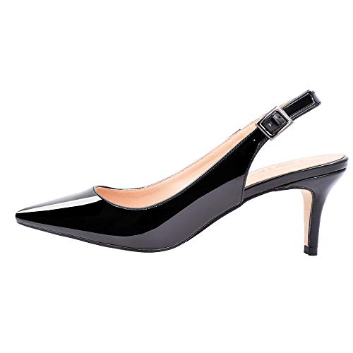 Lovirs Womens Black Slingback Ankle Strap Sandals Stiletto Mid-Heel Pointy Toe Pumps Shoes for Party Dress 9.5 M ()