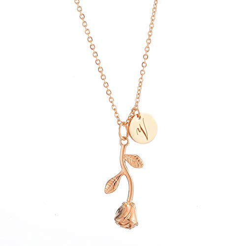 Personalized Custom Stainless Steel Necklace for Women Any Name Bar Rose Flower Pendant Necklaces Jewelry Chain (Vertical-Rosegold-V)