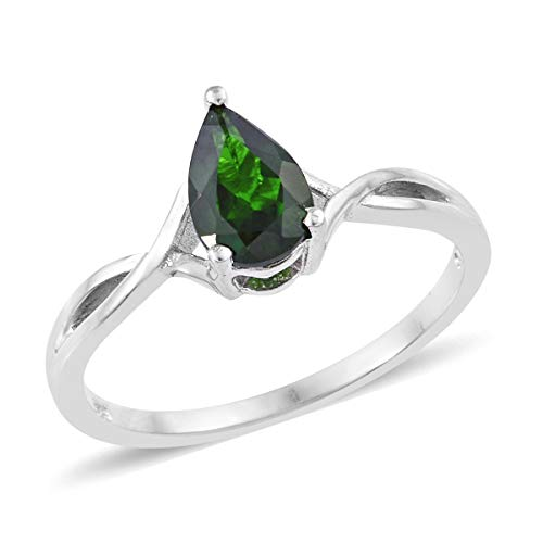 (Solitaire Ring 925 Sterling Silver Platinum Plated Pear Chrome Diopside Gift Jewelry for Women Size 10 Ct)