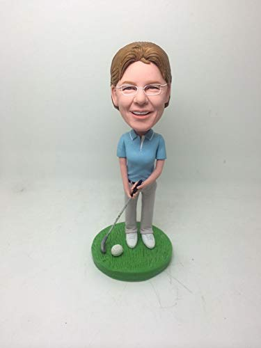 (Woman Golfer Golfing Personalized Gift Custom Bobble Head Clay Figurines Mothers Day Personalized Birthday Cake Topper Wife Mother Gift)