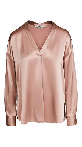 Vince Women's V Neck Popover Silk Shirt