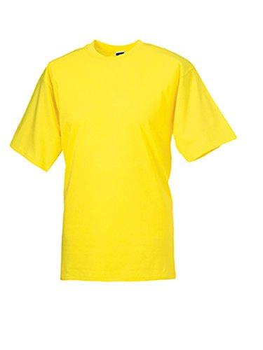 Russell Herren Arbeits-T-Shirt Kurzarm ringgesponnene Baumwolle gelb XS