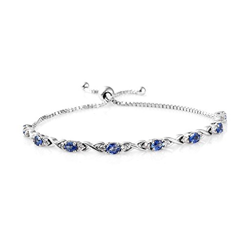 925 Sterling Silver Platinum Plated Oval Blue Sapphire, Zircon Bolo Bracelet for Women 9.5