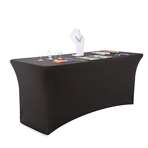 Buybility 6ft Spandex Fitted Tablecloth Premium 210 GSM Heavy Duty Weight Cover 72 x 30 Rectangular Table Black Elastic Pro 4 Way Stretch Vendor Event Trade Show Wedding Birthday Party DJ Kiosk
