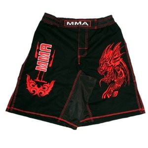 MMA Board Shorts in Rib Stop Cotton with Red Embroidery Size L by Woldorf USA