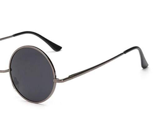 de hombres Grey la del Huyizhi de estilo redondas para retro viajar Mujeres para Gafas sol conducción del UV400 Gafas de Guay marco los protección qfqgc7wEH