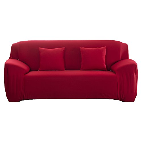 WOMACO Stretch Fabric Slipcover Pure Color 1 2 3 4 Seater Chair Loveseat Sofa Cover Anti-Mite Pet Dog Cat Protector (2 Seater (57-72''), Wine - 57 Red