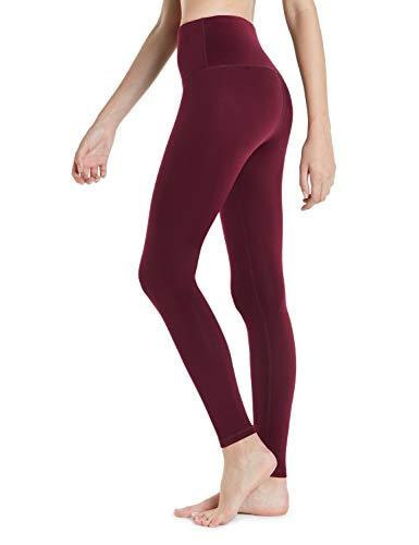 TSLA Women's Thermal Wintergear Compression Baselayer Pants Leggings Tights, Wintergear Yoga Pants(xyp82) - Wine, Small