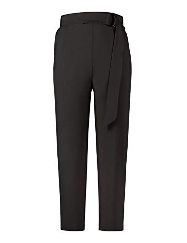 MAVIS LAVEN Women's Pants Trouser Casual Cropped Paper Bag Waist Pants with Pockets Black Medium ()