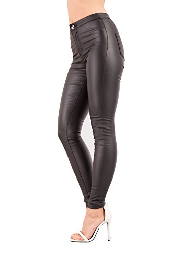 Leather Ladies LustyChic UK 16 Stretch Fit Womens 8 Jeans Look Black Slim Trousers Skinny Size P5gqYgwU