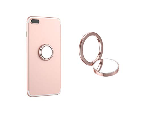 (Mirror Phone Ring Holder,Universal Cell Phone Ring Grip Stand for Magnetic Car Mount Holder,360°Rotation Finger Ring Kickstand for Almost All Phones(Rose Gold))