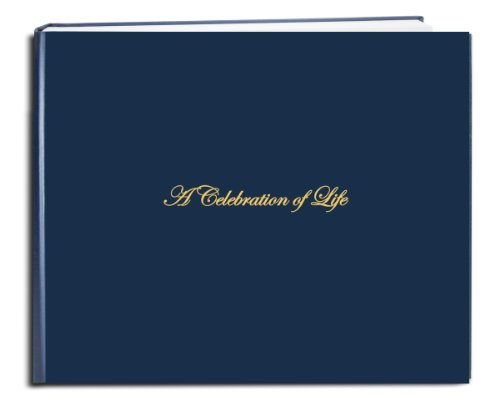 "BookFactory Funeral Guest Book ""A Celebration of Life"" / Memorial Book / Memorial Guest Book (48 Page - 8 7/8"" x 7""), Blue (Imitation Leather), Smyth Sewn Hardbound (LOG-048-97CS-LBT64-(FUNERAL-REG))"