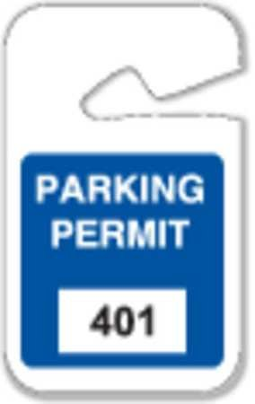 Parking Permits, Rearview, 401-500, Wht/Blu