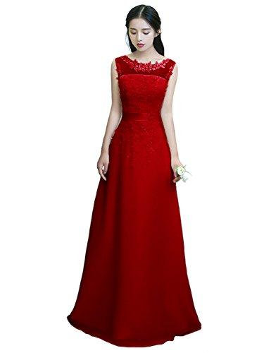 für LuckyShe Abendkleider Chiffon Rot Elegant mit Damen Lang Brautjungfernkleider Spitze Hochzeit SrIxq8arw