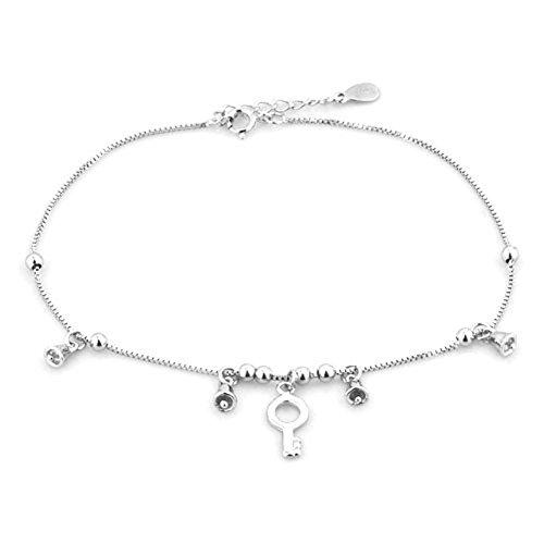 LuckyJewelry Key Bellys Sterling Silver Anklet Beach Chain Ankle Bracelet Women