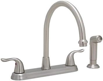 Proflo Pfxc6880bn Proflo Pfxc6880 1 8 Gpm Double Handle Kitchen Faucet With Side Spray Amazon Com