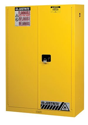 65'' H x 43'' W x 18'' D - 45-gal. Cabinet w/ 2 doors & one shelf, manual close - Sure-Grip EX Safety Cabinets for Flammables - R3-894500