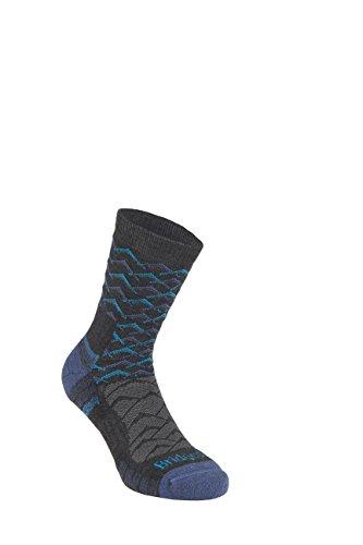 Bridgedale 710096 Men's Lightweight Ankle Height Merino Endurance Socks, Large, Dark Grey/Blue