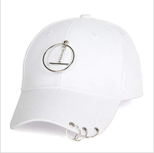 春夏女性コットンペンダントサテン野球帽子男の子リング野球帽子女の子用カセット,白,サイズ56-60cm
