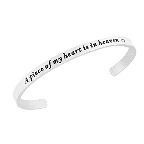 RUNXINTD A Piece of my heart is in heaven Memories Cuff Bracelet Memorial Jewelry Miscarriage Bracelet (Cuff Bracelet-Silver) by RUNXINTD