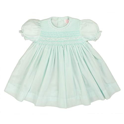 (Petit Ami Baby Girls' Fully Smocked Dress with Lace, 18 Months, Mint)
