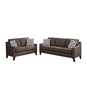 Poundex F6907 Bobkona Debora Linen-Like 2 Piece Sofa and Loveseat Set