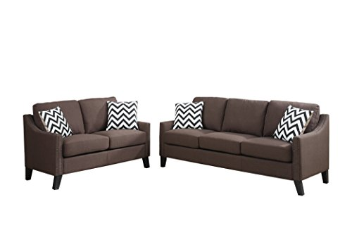 Poundex F6907 Bobkona Debora Linen-Like 2 Piece Sofa and Loveseat Set, Chocolate