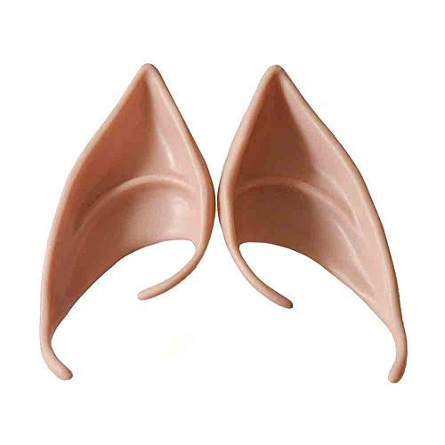(Weite 1 Pair Halloween Cosplay Fairy Pixie Elf Ears, 2 Sizes, Soft Latex Pointed Ear Tips Anime Party Dress Up Costume Accessories, No Adhesive)