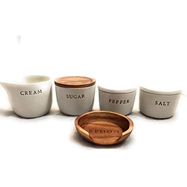 HEARTH AND HAND w//Magnolia Stoneware Houses Salt /& Pepper Shaker Set NEW
