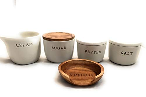 - Hearth and Hand with Magnolia - Bundle 5 PC Tableware Set includes Stoneware Salt and Pepper containers with lids, Sugar Bowl with lid, Creamer and Wooden Spoon Rest