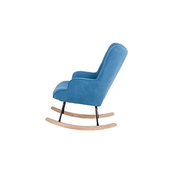 Zons Fauteuil à Bascule Rocking Chair H92X100X68CM suédine Bleu Canard