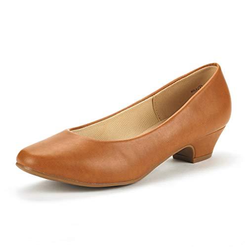 DREAM PAIRS Women's Mila Tan Pu Low Chunky Heel Pump Shoes Size 11 M US