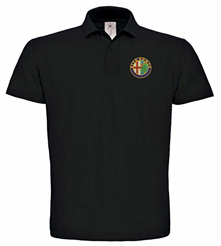 Alfa Romeo embroidered fun car Poloshirt, different colours, really premium quality, 100% cotton -023 (L, Black)