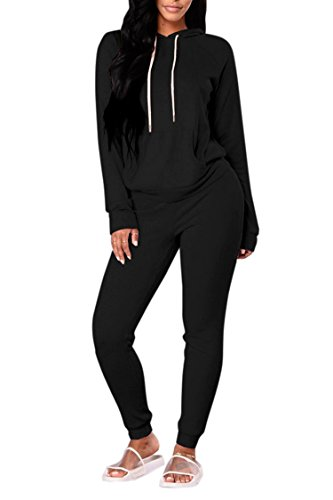 Fashion Hooded Active Top & Bottom Sets Two Piece Sweatsuit Leisure Suit for Women Black M