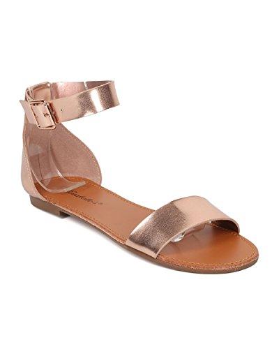 Rose Summer Sandal Dressy Sandal Versatile Ankle Gold Sandal by Collection Minimalist Metallic Strap Alrisco Casual Flat Women HB03 Breckelles pKAyaKqv