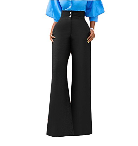 GUOLEZEEV Women High Waisted Pants Solid Color Office Straight Leg Long Trouser Black S