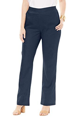 (Jessica London Women's Plus Size Pull-On Linen Pants - Navy, 18)