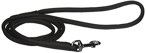 Dogline 1/4-Inch Wide Soft Padded Rolled Round Leather Dog Leash Lead, 4-Feet, Black from Dogline