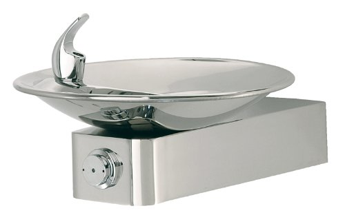 Haws 1001HPS High Polished 18 Gauge 304 Stainless Steel Barrier-Free Drinking Fountain with Sculpted Bowl (Mounting Frame Not Included) by Haws