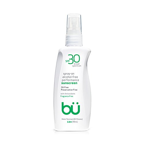 bu SPF 30 Sunscreen Spray - Nature's Sun Block. Biodegradable. Waterproof. TSA Approved. Vegan. Alcohol & Cruelty Free. | Fragrance Free, 3.3 oz