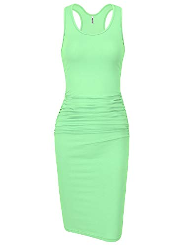 Missufe Women's Sleeveless Racerback Tank Ruched Bodycon Sundress Midi Fitted Casual Dress (Mint Green, -