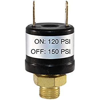 Vixen Horns 120-150 PSI Air Sealed//Waterproof Pressure Switch with Wire Leads Tank Mount Type 1//4 NPT 12V//24V for Train//Air Horn VXA7150L