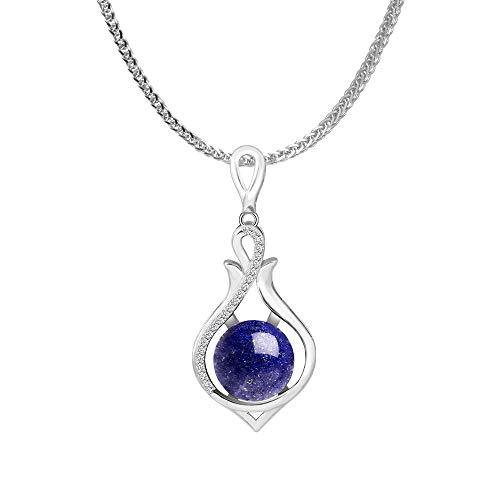 iSTONE 925 Sterling Silver Natural Gemstone Lapis Lazuli Ladies Pendant Necklace, Gemstone Birthstone with 18