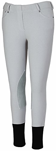TuffRider Girl's Newbury Pull-On Breech with Contrast Stitching, Light Gray/White, 10 (Tuffrider Riding Jeans)