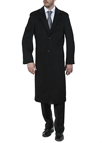 Length Top Coat - Men's Single Breasted Black (40811) Luxury Wool Full Length Topcoat, Size 40 Short