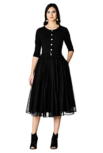 eShakti FX Cotton Knit and Tulle Belted Shirtdress Black