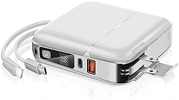 最新版 モバイルバッテリー 大容量 24800mAh 急速充電 スマホ充電器 2ケーブル内蔵(Lightning+Micro USBケーブル内蔵) +Type-C入出力+USBポート 4台同時充電 薄型 LED残量表示 持ち運び便利...