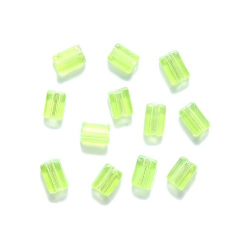 Preciosa Ornela Czech Flat Rectangle Bugle Glass Bead, 3-1/2 by 5mm, Aurora Borealis, Transparent Green, 65 gm/pack