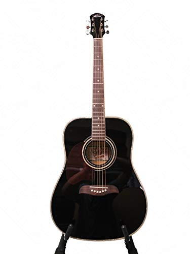 Oscar Schmidt Left Hand Dreadnought Acoustic Guitar, Spruce Top, Black, OG2BLH