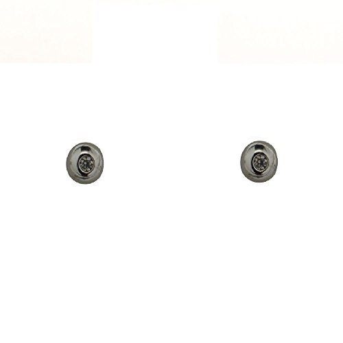 18K White Gold Ball with 4mm Diamond Earrings with covered screwbacks (4mm) by Amalia